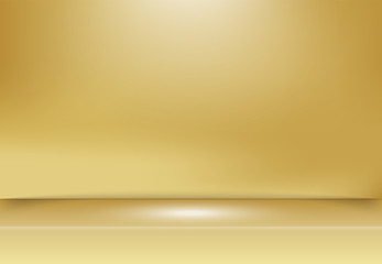 Abstract golden gold studio background with lighting on stage.