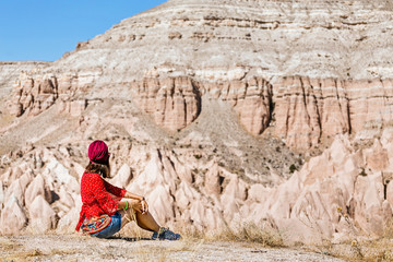 Middle eastern girl enjoy vacation and journey in Cappadocia