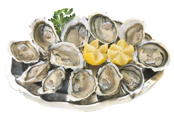 Zelfklevend Fotobehang Schaaldieren oysters on silver tray