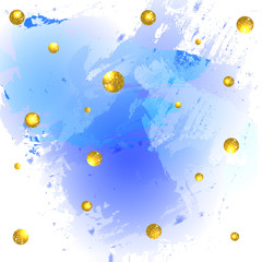 Textured paint splash blue background and glittering golden balls.
