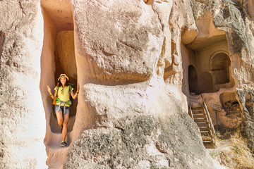 Travel at ancient cave underground city and Crusaders Church in Cappadocia, Turkey. Concept of archeology and tourist destination