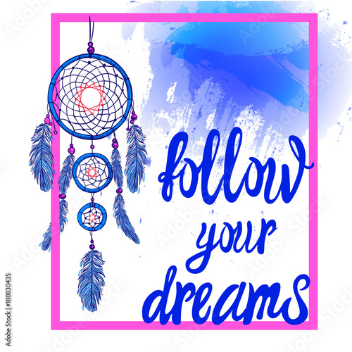 FOLLOW YOUR DREAMS Words With Dream Catcher With Paint Splash Impressive Dream Catcher Words
