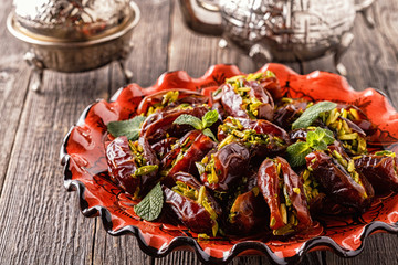 Dry dates stuffed with pistachios.