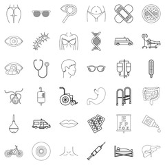 Human health icons set, outline style