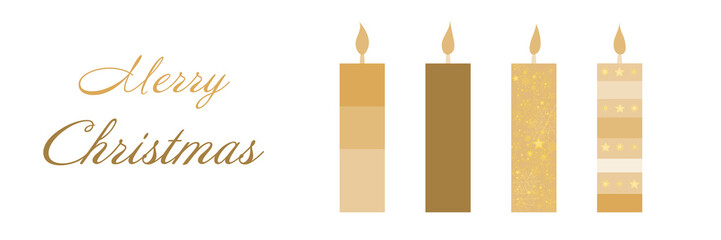 Christmas time. Christmas card with four candles in golden colors. Text : Merry Christmas.