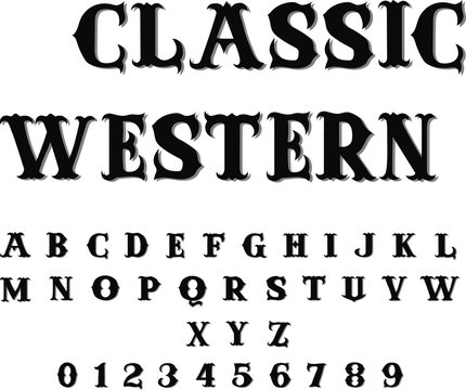 Classic Western - Vintage Vector Font with Shadow