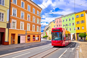 Colorful street of Innsbruck view