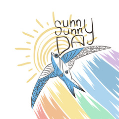Hand drawn illustration with patterned swift and rainbow. Sunny day.