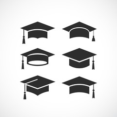 Graduation student black cap silhouette icon