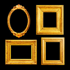 Ornate luxury gilded frames isolated