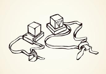 Jewish prayer cubes. Vector drawing