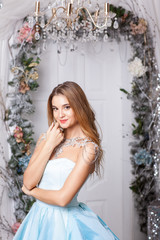 Girl on the background of Christmas scenery