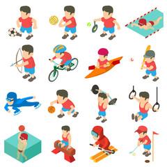 Sport icons set, isometric style