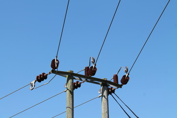 A Pole For A Three Wire Electricity Transmission System.