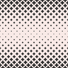 Crosses pattern. Vector halftone texture, seamless pattern with falling floral shapes