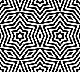 Stars pattern. Subtle geometric ornament seamless pattern. Vector black and white texture