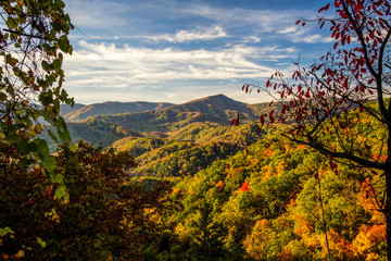 Smoky Mountains Autumn Landscapes. Autumn colors from an overlook in the Great Smoky Mountains National Park.