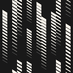Abstract geometric seamless pattern with vertical fading lines, tracks, halftone stripes. Extreme sport style illustration, urban art. Trendy black and white graphic background texture. Stock vector