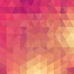 Background of pink, orange geometric shapes. Abstract triangle geometrical background. Mosaic pattern. Vector EPS 10. Vector illustration