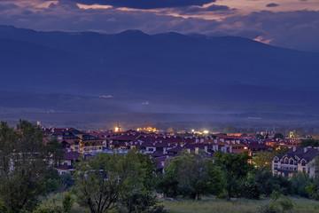 Night panorama of Bansko, Bulgaria 2