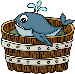 Cute whale in wooden tub