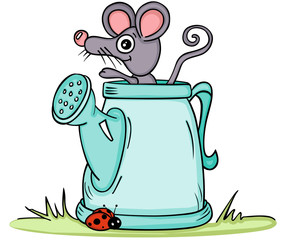 Little mouse in watering can
