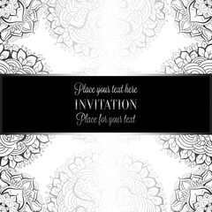 Wedding invitation or card , intricate mandala background. Metal silver and black, Islam, Arabic, Indian, Dubai background, fashion design with place for text