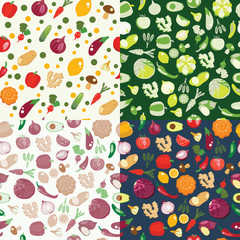 Eco Healthy Organic vegetarian food  background in green