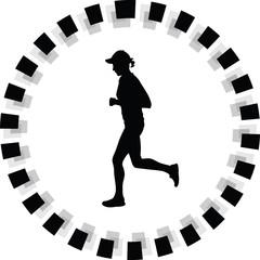 runner silhouette. jogging