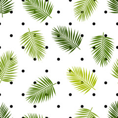 Palm leaf silhouettes and polka dot seamless pattern. Tropical leaves. Vector illustration