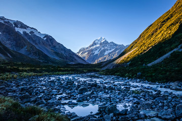 Glacial river at sunset, Mount Cook, New Zealand