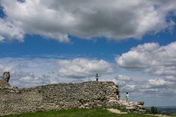 Famous Ukrainian landmark: scenic summer view of the ruins of ancient castle in Kremenets, Ternopil Region, Ukraine