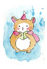 Cute puppy watercolor for Christmas