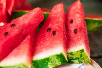 Watermelon pieces.Close up.
