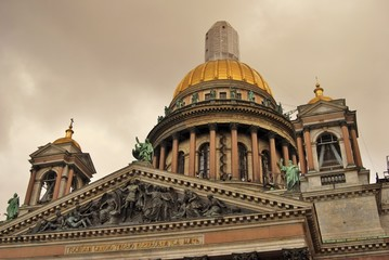 Saint Isaak's cathedral in Saint-Petersburg, Russia. Popular landmark. Color photo.