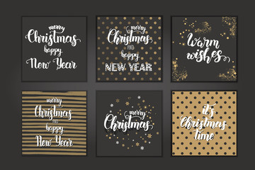 """Christmas cards with hand made trendy lettering """"Merry Christmas and Happy New Year. Let it snow"""" on background with golden dots.Banner,flyer,brochure.Vector background for holidays,postcards,websites"""