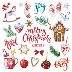 Bright watercolor Merry Christmas set of traditional decor and elements. Spices, decoration, cookies, gifts and plants. Elements of a Christmas mood on a white background.