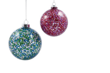 Colorful Christmas balls stock images. Christmas decoration on a white background. Christmas hanging balls of different colors
