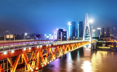 Modern city night view, Chongqing, China,