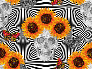 Seamless boho tribal fashion pattern with decorative skull, butterflies and sunflowers vector background perfect for wallpaper, pattern fill, web page, surface texture, textile. Floral pattern