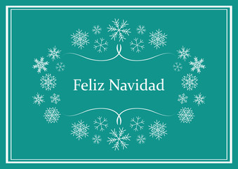 feliz navidad - green vector greeting card for christmas