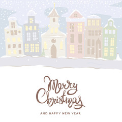 Merry Christmas greeting card / Vector illustration, background with winter old city