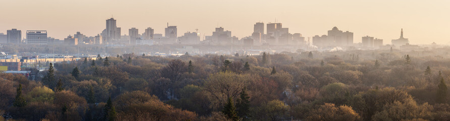 Winnipeg panorama at sunrise