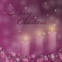 Christmas time. Advent with 3 candles and Christmas landscape. Text : Merry Christmas.