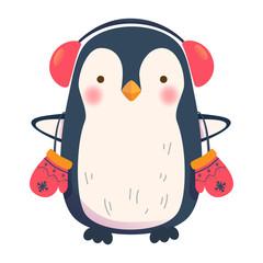 penguin with headphones