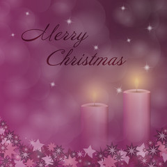 Christmas time. Advent with 2 candles and Christmas landscape. Text : Merry Christmas.