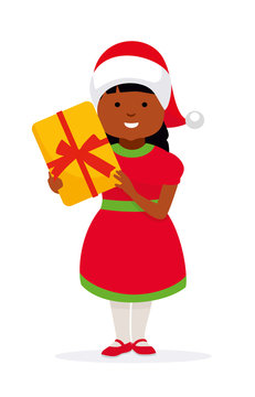 Happy girl in christmas hat with a gift for a holiday. African american family. Vector illustration in flat cartoon style