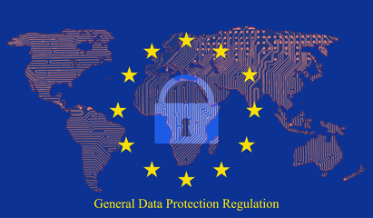 General Data Protection Regulation (GDPR) with padlock against the background printed circuit board of the Earth map Vector illustration