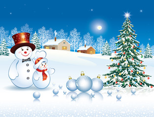 Greeting card with a Christmas tree and snowmen on a winter landscape