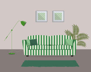 Living Room In A Green Color. There Is A Striped Sofa With Pillows And A Part 88